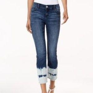 INC Skinny Jeans with Tie Dye Hem Line